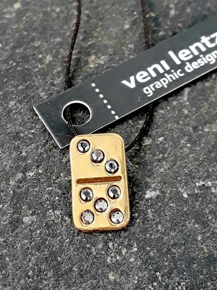 Domino tile pendant gold