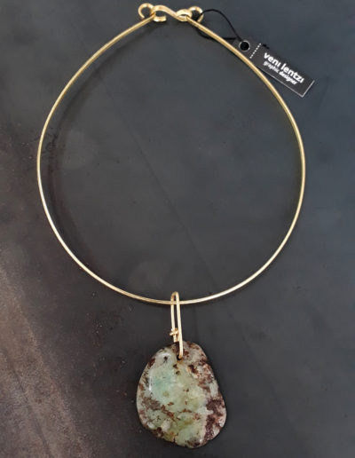 Multi Green agate bronze necklace