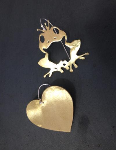 Prince heart bronze silver earrings