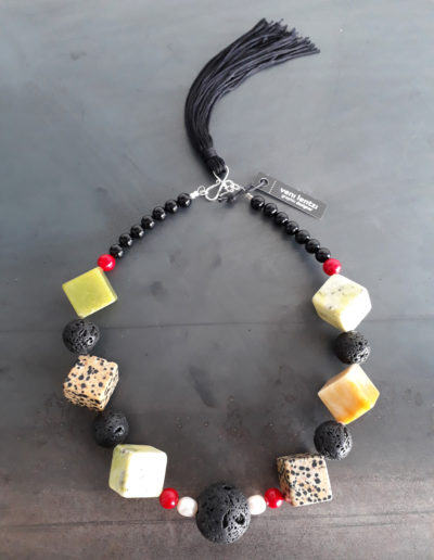 Square marble necklace